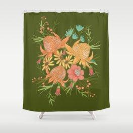Australian Florals in Green Shower Curtain