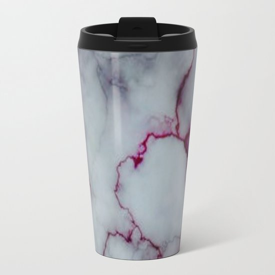 White with Maroon Marbling Metal Travel Mug