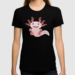 Cute Axolotl on Black Background T-shirt