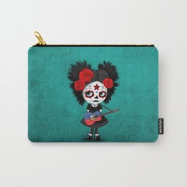 Day of the Dead Girl Playing Haitian Flag Guitar Carry-All Pouch