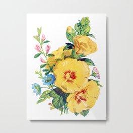 Two large Yellow Flower, Antique Heirloom Flower Bouquet Original Aquatint Watercolor PNG 8 Metal Print