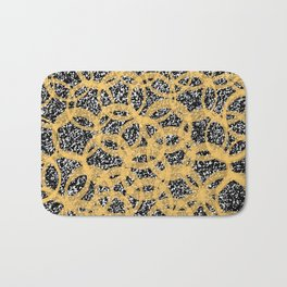 Abstract Beehive Yellow & Black Pattern Bath Mat
