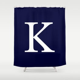 Navy Blue Basic Monogram K Shower Curtain