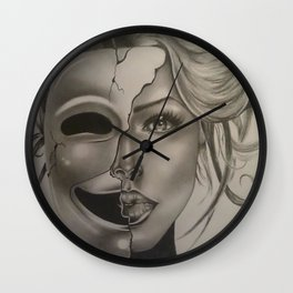 The woman behind the mask Wall Clock