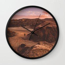 Sunset in Valle De La Luna, Chile Wall Clock