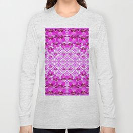 ABSTRACT PATTERNED PURPLE ART DECO  ORCHIDS Long Sleeve T-shirt