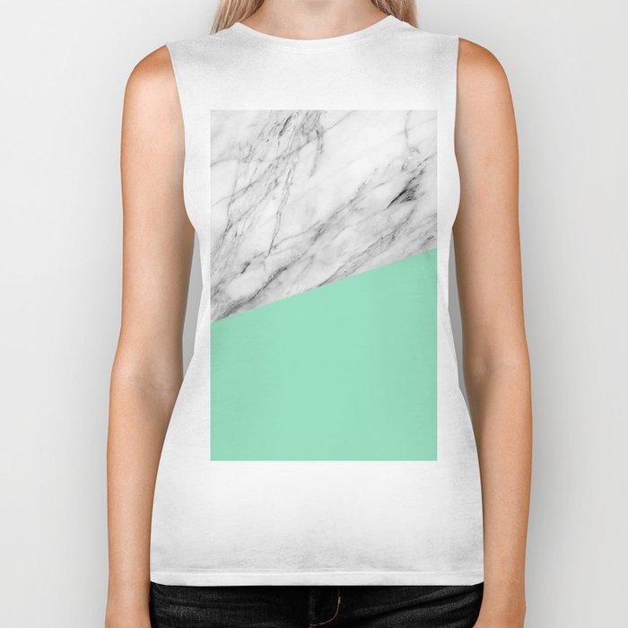 Carrara Marble and Sea Color Biker Tank