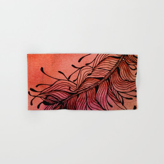 Doodled Autumn Feather 01 Hand & Bath Towel