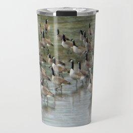 Canada Geese Partial Frozen Lake Travel Mug