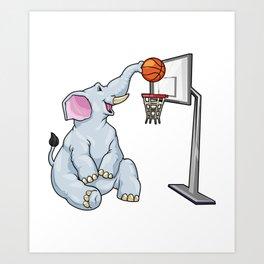 Funny elephant is playing basketball Art Print