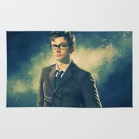 david tennant Area & Throw Rugs featuring David Tennant - Doctor Who 2 by KanaHyde
