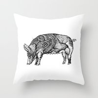 pig Throw Pillows featuring Pig by Ejaculesc