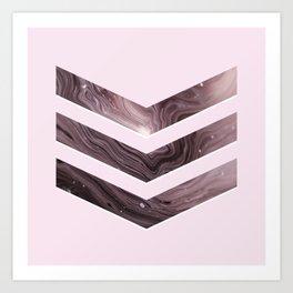 Pink Agate Chevron Art Print