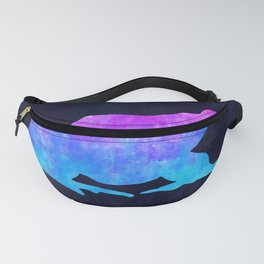 FROG IN SPACE // Animal Graphic Art // Watercolor Canvas Painting // Modern Minimal Cute Fanny Pack