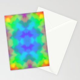 Rainbow Multicolored Watercolor Abstract Tie Dye Stationery Cards