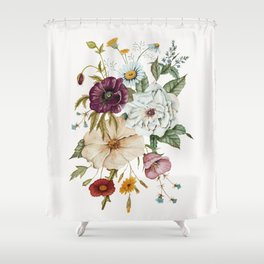 Colorful Wildflower Bouquet on White Shower Curtain