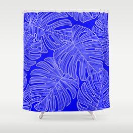 Cobalt Monstera Leaves Shower Curtain