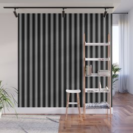 Black and White English Rose Trellis on Mattress Ticking Stripe Wall Mural