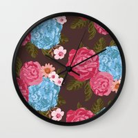 vintage flowers Wall Clocks featuring Vintage Flowers by Anto Del Vecchio