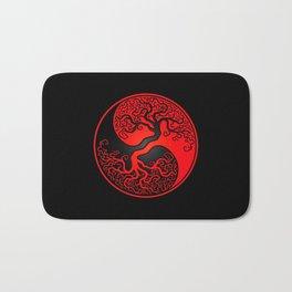 Red and Black Tree of Life Yin Yang Bath Mat