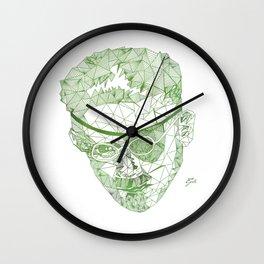 James Joyce - Hand-drawn Geometric Art Print - Green Gradient Wall Clock