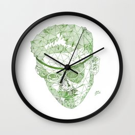 James Joyce - Hand-drawn Geometric Art Print - Green Gradient Wall Clock