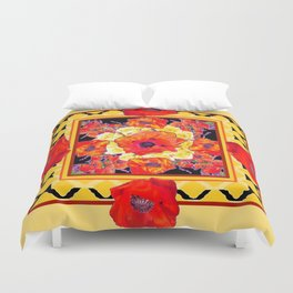 RED POPPIES DECORATIVE FLORAL ABSTRACT Duvet Cover