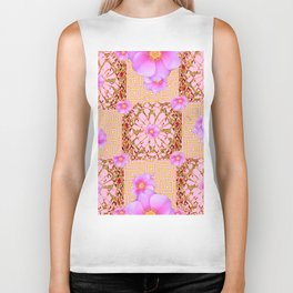 Delicate French Style Fuchsia Pink Wild Rose Gold Jewelry Abstract Biker Tank
