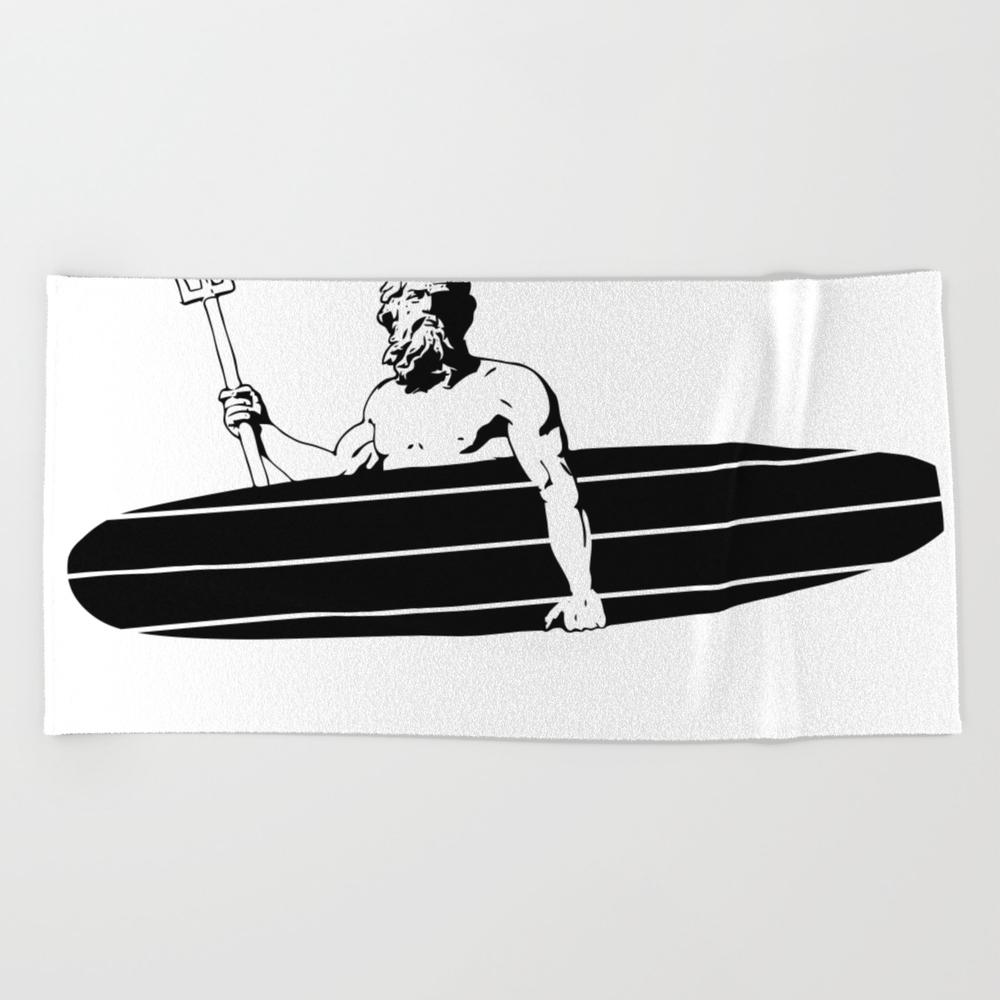 Surf God Beach Towel by Saltysurfsalad BTL8309865