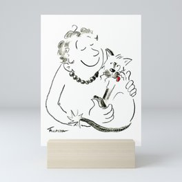 Cat Lady Love Illustration Mini Art Print