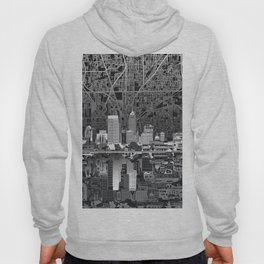 indianapolis city skyline black and white Hoody