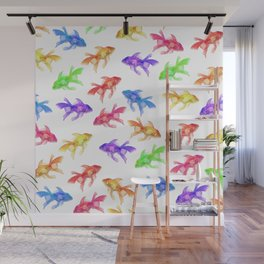 Colorful Rainbow Goldfish Pattern Wall Mural