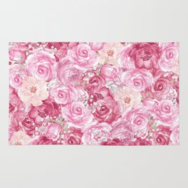 Hand painted white blush pink  coral floral Rug