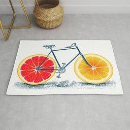 Vintage Orange Old Bike with Retro Cycle Frame Rug