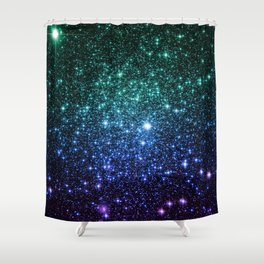 Galaxy Stars : Teal Blue Purple Shower Curtain