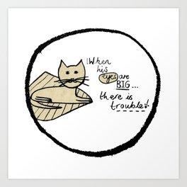 Cat Trouble Art Print