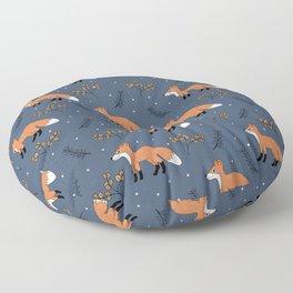Fox woodland garden night navy blue orange autumn forest animals neutral Floor Pillow