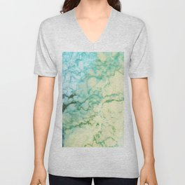 Abstract modern teal brown marble tree pattern Unisex V-Neck