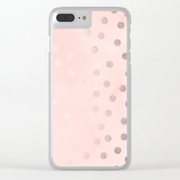 Rose Gold Pastel Pink Polka Dots Clear iPhone Case