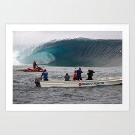 THE BIGGEST WAVE EVER WITNESSED AT CLOUDBREAK Fiji Art Print