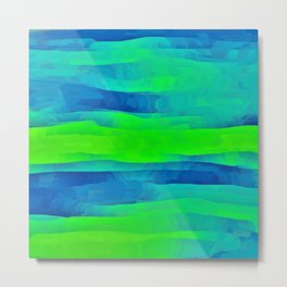 Lime Green & Blue Stripes Abstract Metal Print