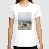 square T-shirts featuring Street Walker by Kevin Russ