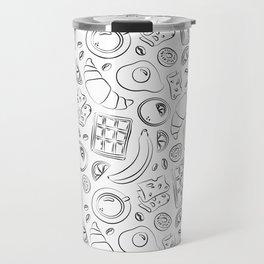 Breakfast black and white pattern Travel Mug