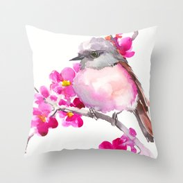 Pink Robin and Pink Flowers, Nursery Art Throw Pillow