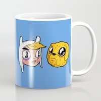 finn and jake Mugs featuring Finn and Jake by Nate Galbraith