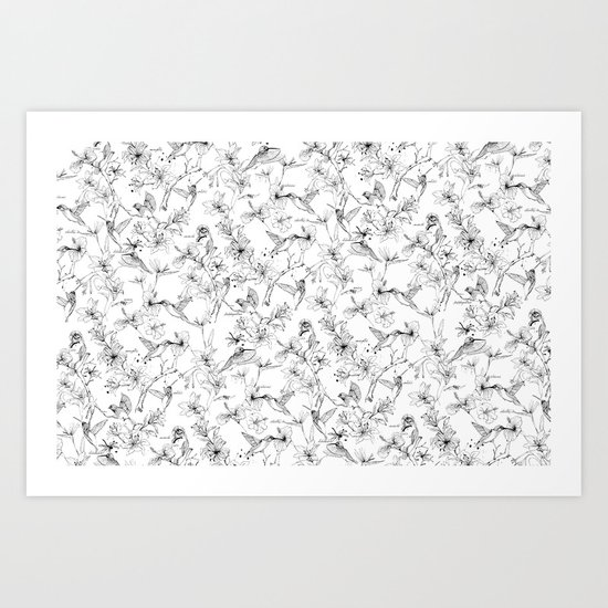 the forest of hummingbirds Art Print