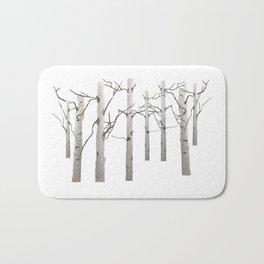 Birch Tree Forest White Bark Aspens Winter Bath Mat