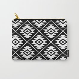 Aztec Symbol Pattern White on Black Carry-All Pouch