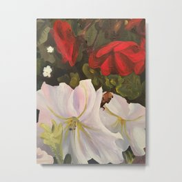 Red and White flower painting Metal Print