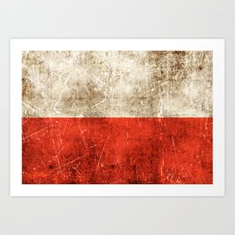 Vintage Aged and Scratched Polish Flag Art Print